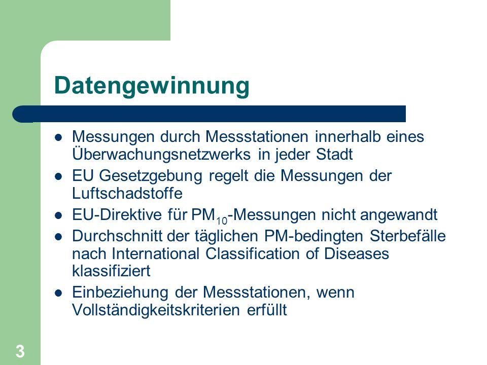 3 Datengewinnung Messungen durch Messstationen innerhalb eines Überwachungsnetzwerks in jeder Stadt EU Gesetzgebung regelt die Messungen der Luftschad