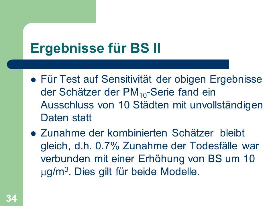 34 Ergebnisse für BS II Für Test auf Sensitivität der obigen Ergebnisse der Schätzer der PM 10 -Serie fand ein Ausschluss von 10 Städten mit unvollstä
