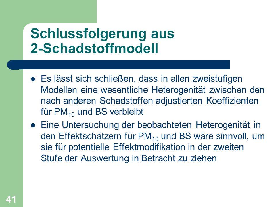 41 Schlussfolgerung aus 2-Schadstoffmodell Es lässt sich schließen, dass in allen zweistufigen Modellen eine wesentliche Heterogenität zwischen den na