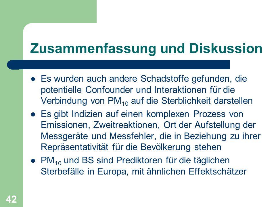 42 Zusammenfassung und Diskussion Es wurden auch andere Schadstoffe gefunden, die potentielle Confounder und Interaktionen für die Verbindung von PM 1