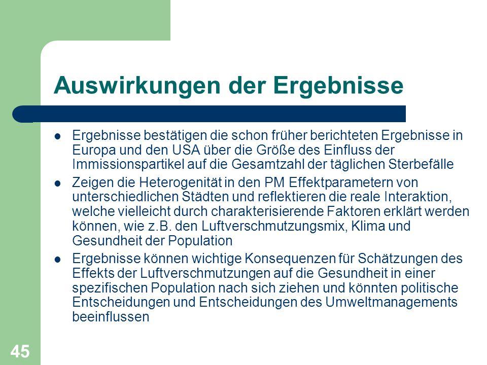 45 Auswirkungen der Ergebnisse Ergebnisse bestätigen die schon früher berichteten Ergebnisse in Europa und den USA über die Größe des Einfluss der Imm