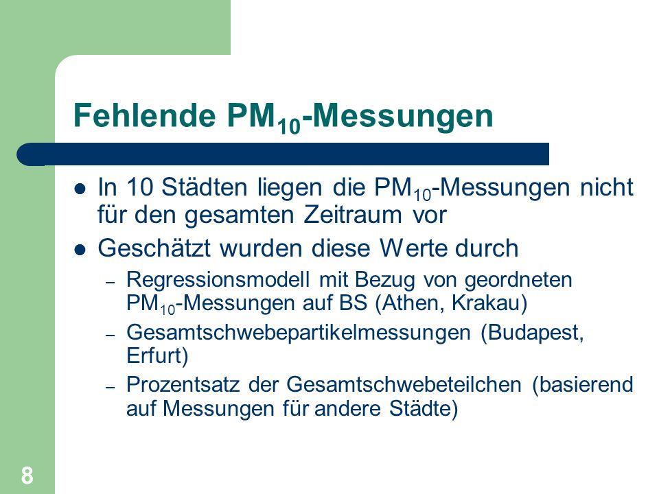 8 Fehlende PM 10 -Messungen In 10 Städten liegen die PM 10 -Messungen nicht für den gesamten Zeitraum vor Geschätzt wurden diese Werte durch – Regress