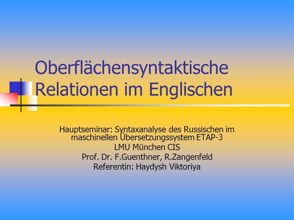 Oberflächensyntaktische Relationen im Englischen Hauptseminar: Syntaxanalyse des Russischen im maschinellen Übersetzungssystem ETAP-3 LMU München CIS Prof.