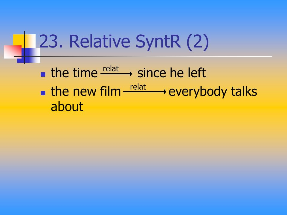 23. Relative SyntR (2) the time since he left the new film everybody talks about relat