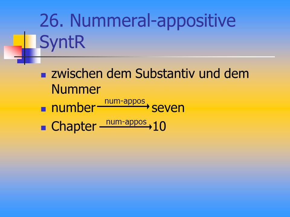 26. Nummeral-appositive SyntR zwischen dem Substantiv und dem Nummer number seven Chapter 10 num-appos