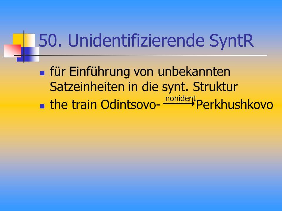 50.Unidentifizierende SyntR für Einführung von unbekannten Satzeinheiten in die synt.