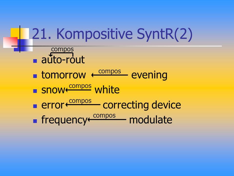 21. Kompositive SyntR(2) auto-rout tomorrow evening snow white error correcting device frequency modulate compos