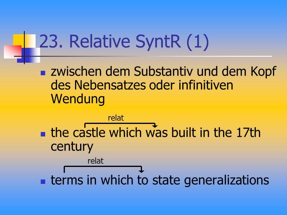 23. Relative SyntR (1) zwischen dem Substantiv und dem Kopf des Nebensatzes oder infinitiven Wendung the castle which was built in the 17th century te