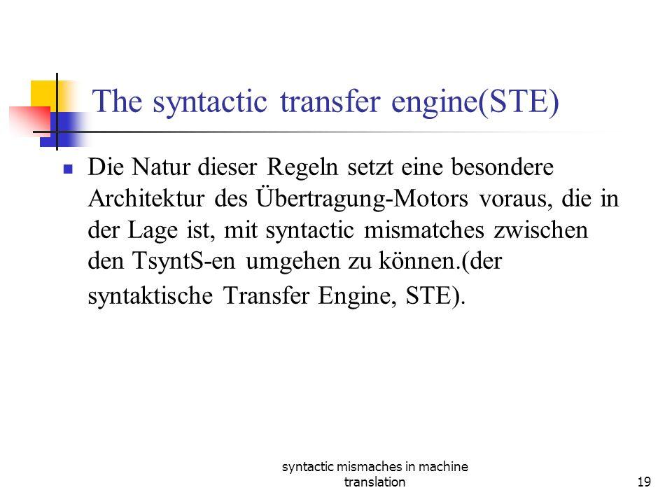 syntactic mismaches in machine translation19 The syntactic transfer engine(STE) Die Natur dieser Regeln setzt eine besondere Architektur des Übertragung-Motors voraus, die in der Lage ist, mit syntactic mismatches zwischen den TsyntS-en umgehen zu können.(der syntaktische Transfer Engine, STE).