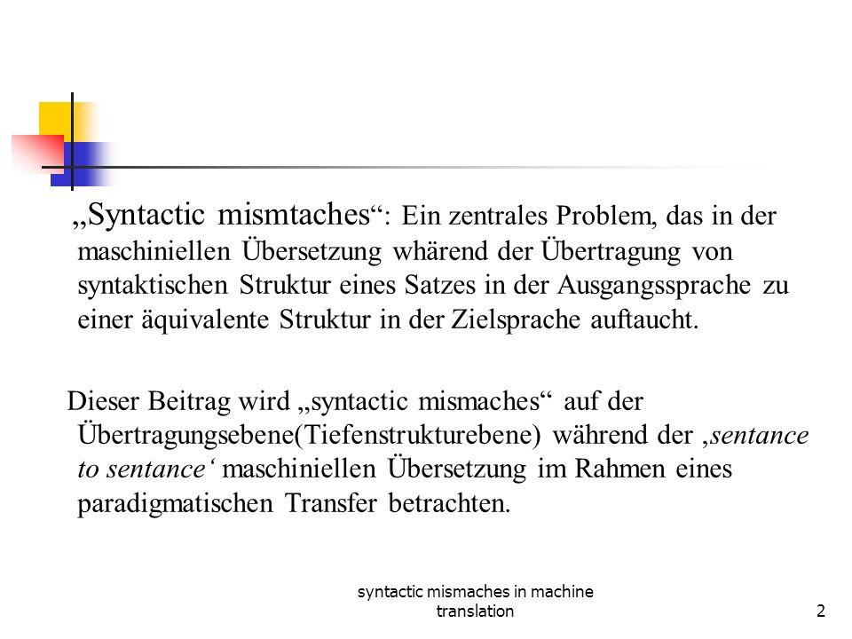 syntactic mismaches in machine translation2 Syntactic mismtaches : Ein zentrales Problem, das in der maschiniellen Übersetzung whärend der Übertragung von syntaktischen Struktur eines Satzes in der Ausgangssprache zu einer äquivalente Struktur in der Zielsprache auftaucht.