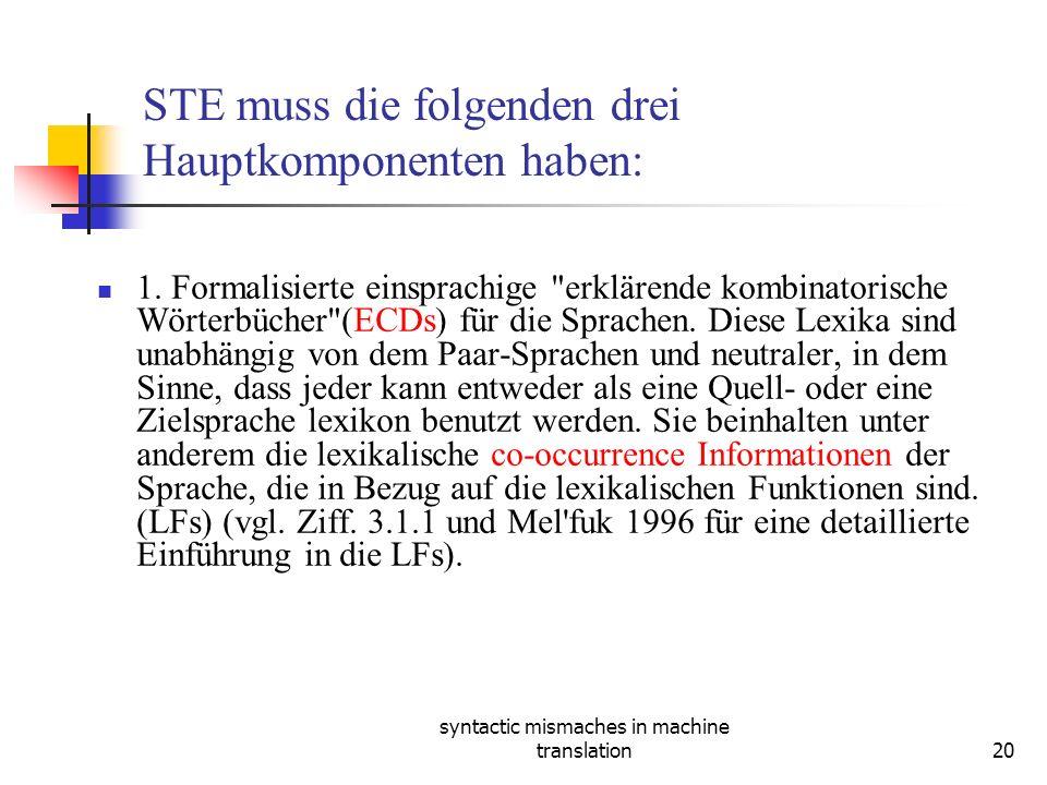 syntactic mismaches in machine translation20 STE muss die folgenden drei Hauptkomponenten haben: 1.
