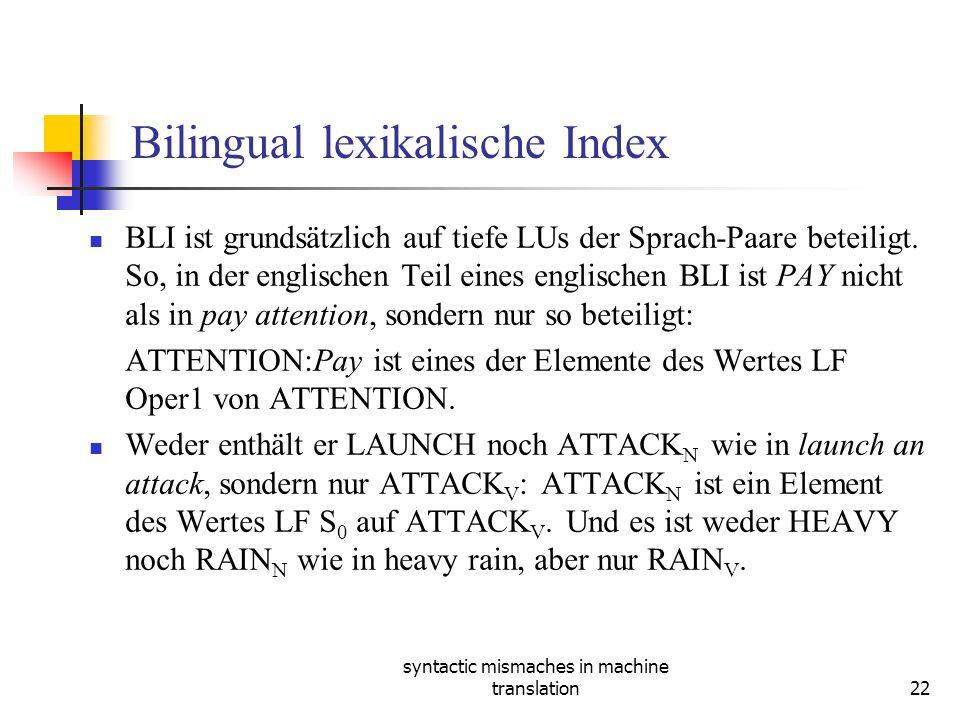 syntactic mismaches in machine translation22 Bilingual lexikalische Index BLI ist grundsätzlich auf tiefe LUs der Sprach-Paare beteiligt.