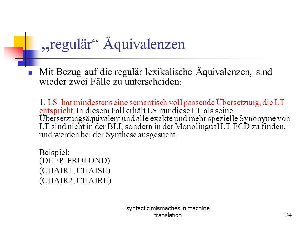 syntactic mismaches in machine translation24 regulär Äquivalenzen Mit Bezug auf die regulär lexikalische Äquivalenzen, sind wieder zwei Fälle zu unterscheiden : 1.