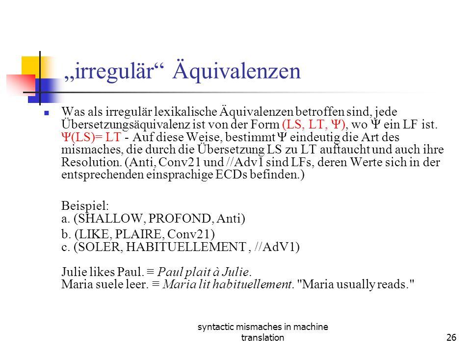 syntactic mismaches in machine translation26 irregulär Äquivalenzen Was als irregulär lexikalische Äquivalenzen betroffen sind, jede Übersetzungsäquivalenz ist von der Form (LS, LT, Ψ), wo Ψ ein LF ist.