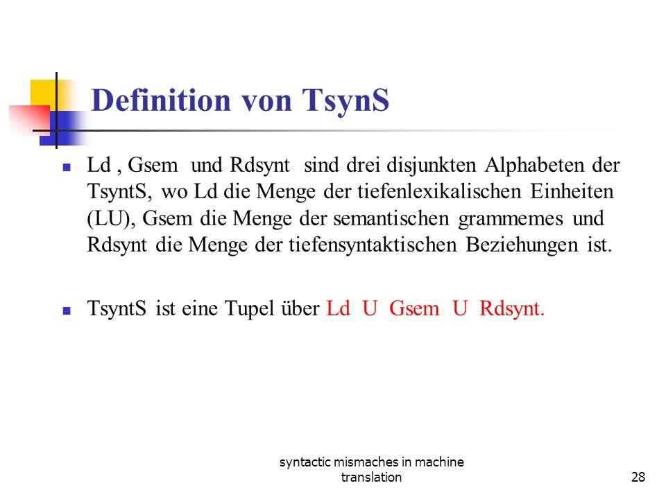 syntactic mismaches in machine translation28 Definition von TsynS Ld, Gsem und Rdsynt sind drei disjunkten Alphabeten der TsyntS, wo Ld die Menge der tiefenlexikalischen Einheiten (LU), Gsem die Menge der semantischen grammemes und Rdsynt die Menge der tiefensyntaktischen Beziehungen ist.