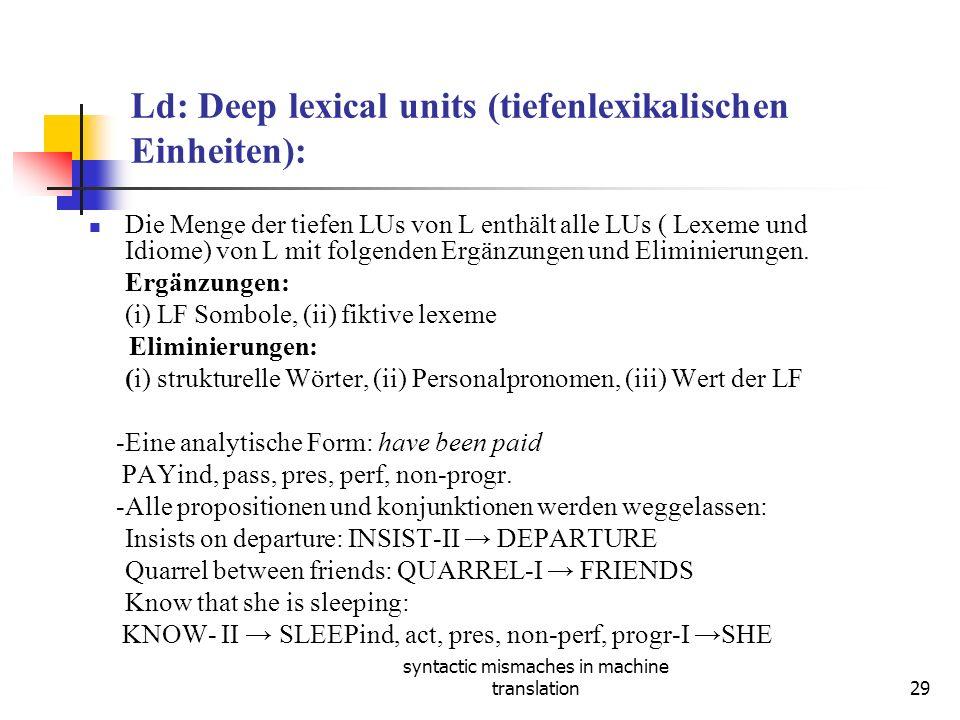 syntactic mismaches in machine translation29 Ld: Deep lexical units (tiefenlexikalischen Einheiten): Die Menge der tiefen LUs von L enthält alle LUs ( Lexeme und Idiome) von L mit folgenden Ergänzungen und Eliminierungen.