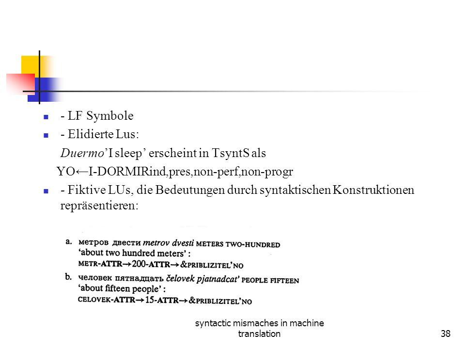 syntactic mismaches in machine translation38 - LF Symbole - Elidierte Lus: DuermoI sleep erscheint in TsyntS als YOΙ-DORMIRind,pres,non-perf,non-progr - Fiktive LUs, die Bedeutungen durch syntaktischen Konstruktionen repräsentieren: