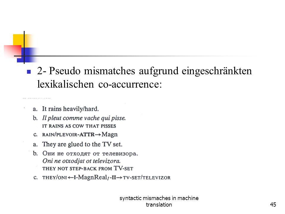 syntactic mismaches in machine translation45 2- Pseudo mismatches aufgrund eingeschränkten lexikalischen co-accurrence: