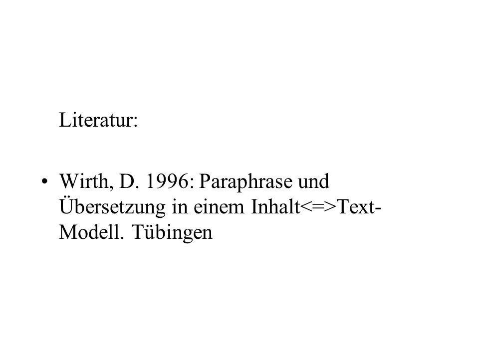 Literatur: Wirth, D. 1996: Paraphrase und Übersetzung in einem Inhalt Text- Modell. Tübingen