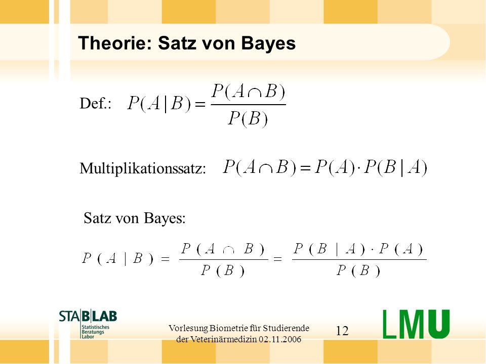Vorlesung Biometrie für Studierende der Veterinärmedizin 02.11.2006 12 Theorie: Satz von Bayes Def.: Satz von Bayes: Multiplikationssatz: