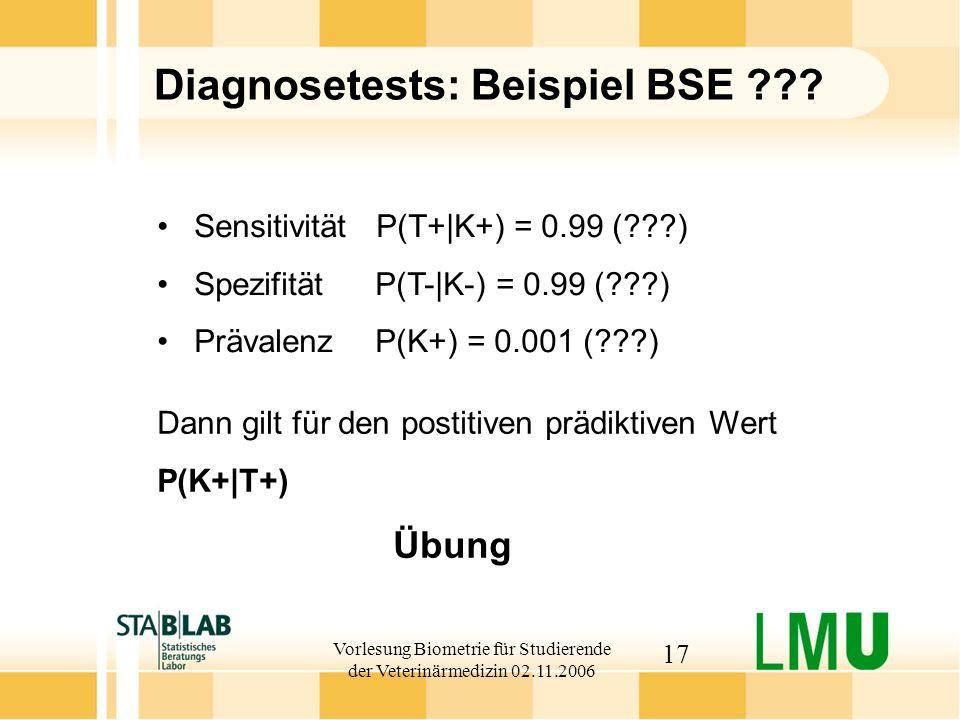 Vorlesung Biometrie für Studierende der Veterinärmedizin 02.11.2006 17 Diagnosetests: Beispiel BSE ??? Dann gilt für den postitiven prädiktiven Wert P
