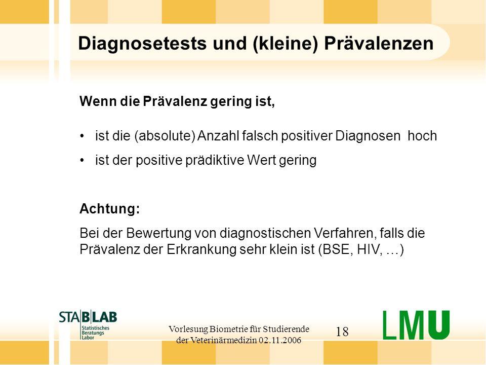 Vorlesung Biometrie für Studierende der Veterinärmedizin 02.11.2006 18 Diagnosetests und (kleine) Prävalenzen Achtung: Bei der Bewertung von diagnosti