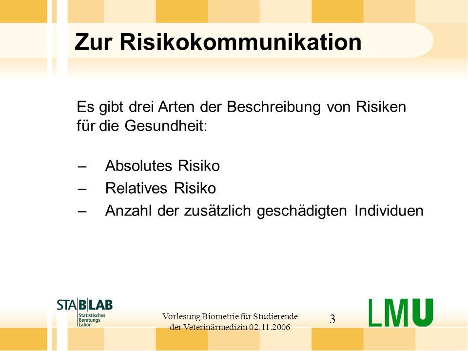 Vorlesung Biometrie für Studierende der Veterinärmedizin 02.11.2006 3 Zur Risikokommunikation –Absolutes Risiko –Relatives Risiko –Anzahl der zusätzli