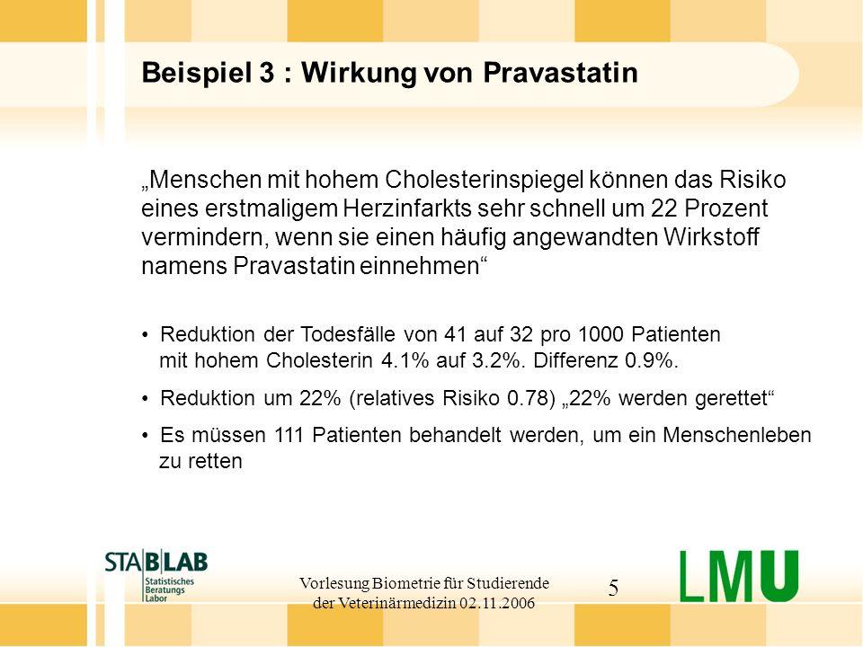 Vorlesung Biometrie für Studierende der Veterinärmedizin 02.11.2006 5 Beispiel 3 : Wirkung von Pravastatin Menschen mit hohem Cholesterinspiegel könne