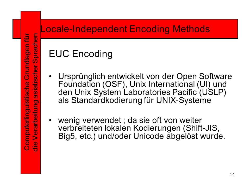 14 Locale-Independent Encoding Methods Computerlinguistische Grundlagen f ü r die Verarbeitung asiatischer Sprachen EUC Encoding Ursprünglich entwickelt von der Open Software Foundation (OSF), Unix International (UI) und den Unix System Laboratories Pacific (USLP) als Standardkodierung für UNIX-Systeme wenig verwendet ; da sie oft von weiter verbreiteten lokalen Kodierungen (Shift-JIS, Big5, etc.) und/oder Unicode abgelöst wurde.