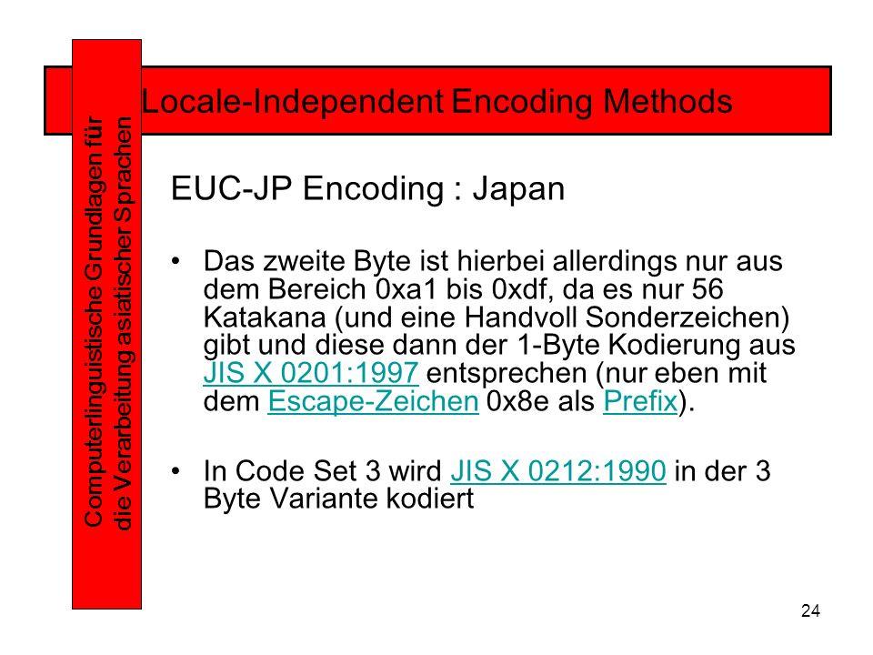 24 Locale-Independent Encoding Methods Computerlinguistische Grundlagen f ü r die Verarbeitung asiatischer Sprachen EUC-JP Encoding : Japan Das zweite Byte ist hierbei allerdings nur aus dem Bereich 0xa1 bis 0xdf, da es nur 56 Katakana (und eine Handvoll Sonderzeichen) gibt und diese dann der 1-Byte Kodierung aus JIS X 0201:1997 entsprechen (nur eben mit dem Escape-Zeichen 0x8e als Prefix).