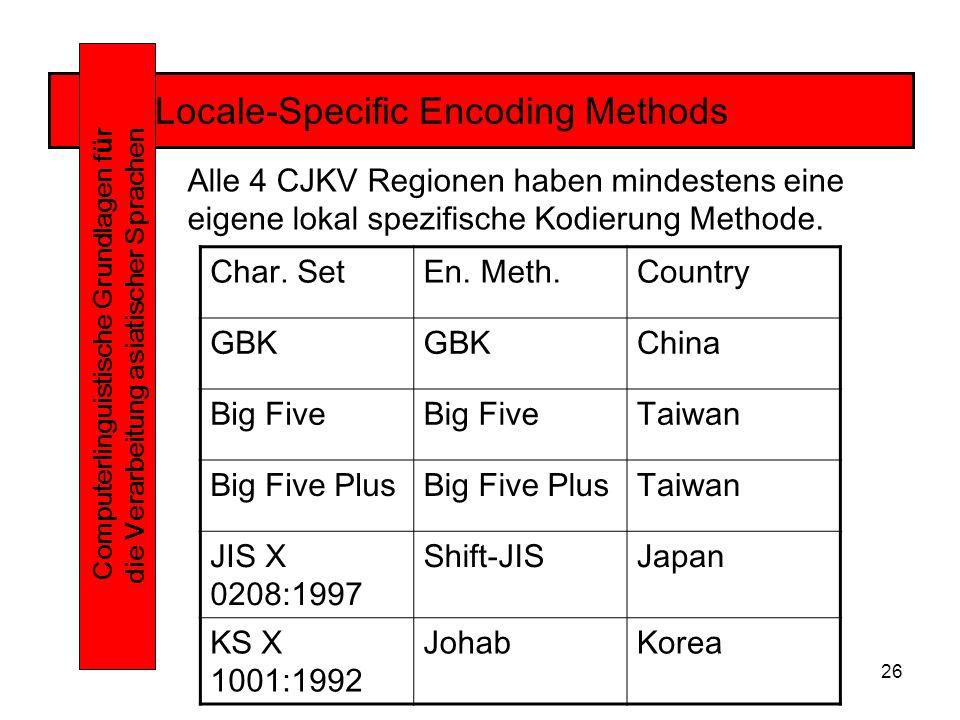 26 Locale-Specific Encoding Methods Computerlinguistische Grundlagen f ü r die Verarbeitung asiatischer Sprachen Alle 4 CJKV Regionen haben mindestens eine eigene lokal spezifische Kodierung Methode.