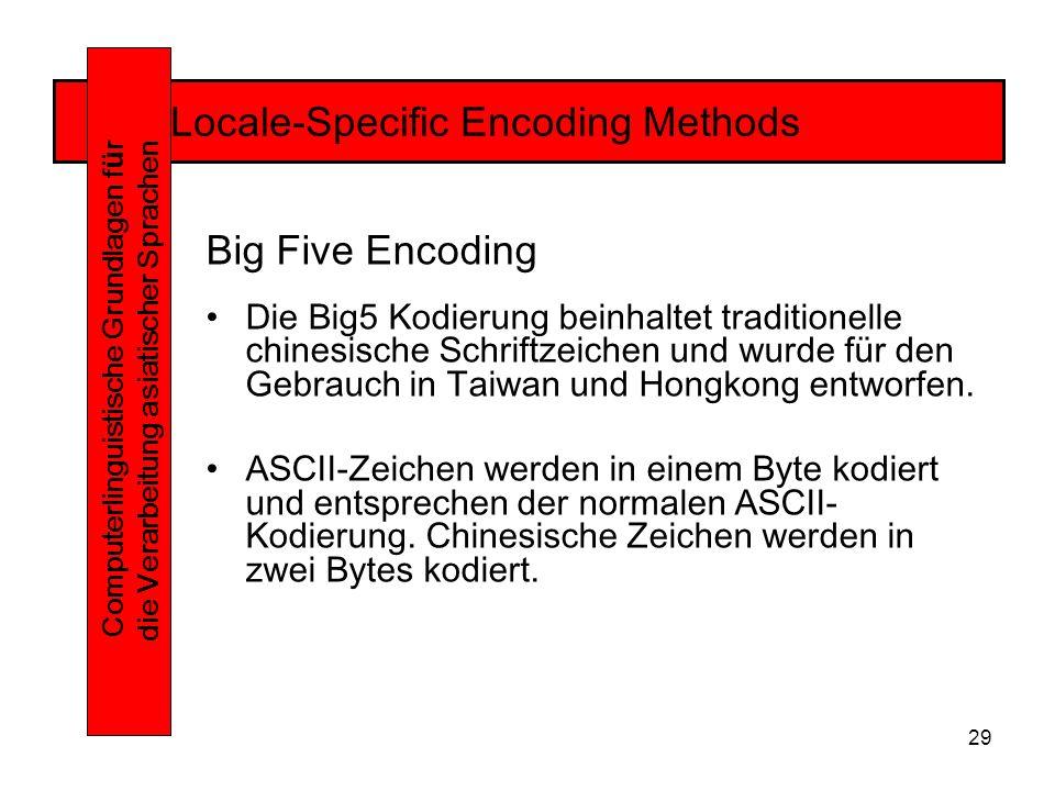 29 Locale-Specific Encoding Methods Computerlinguistische Grundlagen f ü r die Verarbeitung asiatischer Sprachen Big Five Encoding Die Big5 Kodierung beinhaltet traditionelle chinesische Schriftzeichen und wurde für den Gebrauch in Taiwan und Hongkong entworfen.