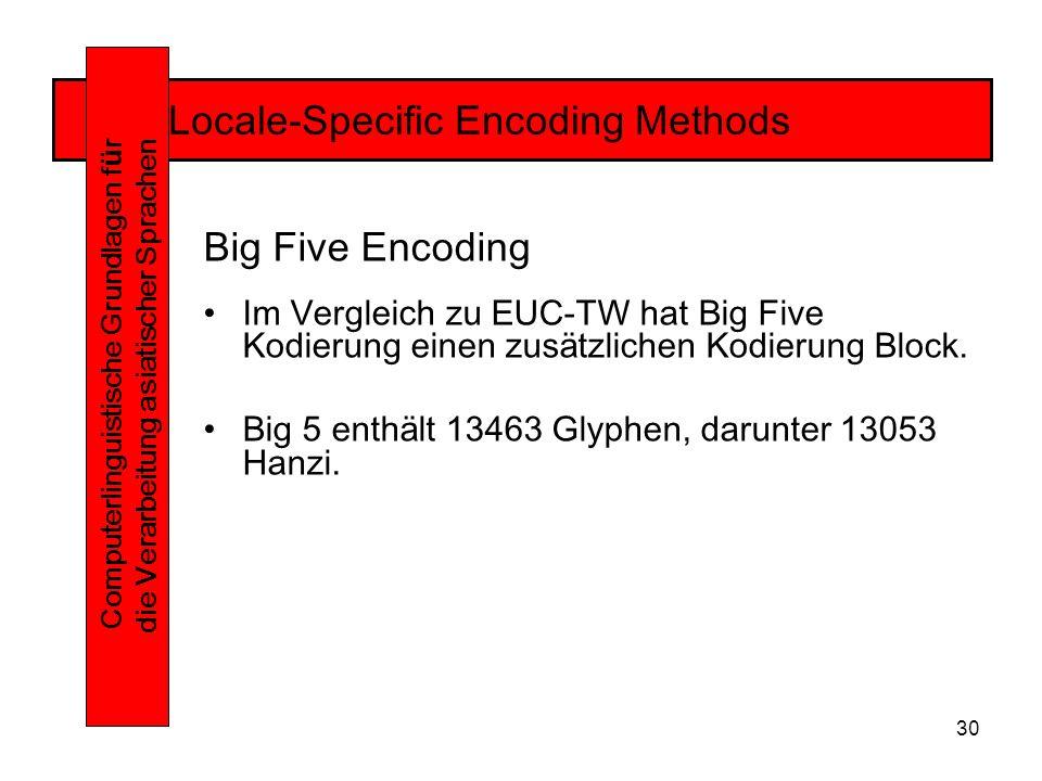 30 Locale-Specific Encoding Methods Computerlinguistische Grundlagen f ü r die Verarbeitung asiatischer Sprachen Big Five Encoding Im Vergleich zu EUC-TW hat Big Five Kodierung einen zusätzlichen Kodierung Block.