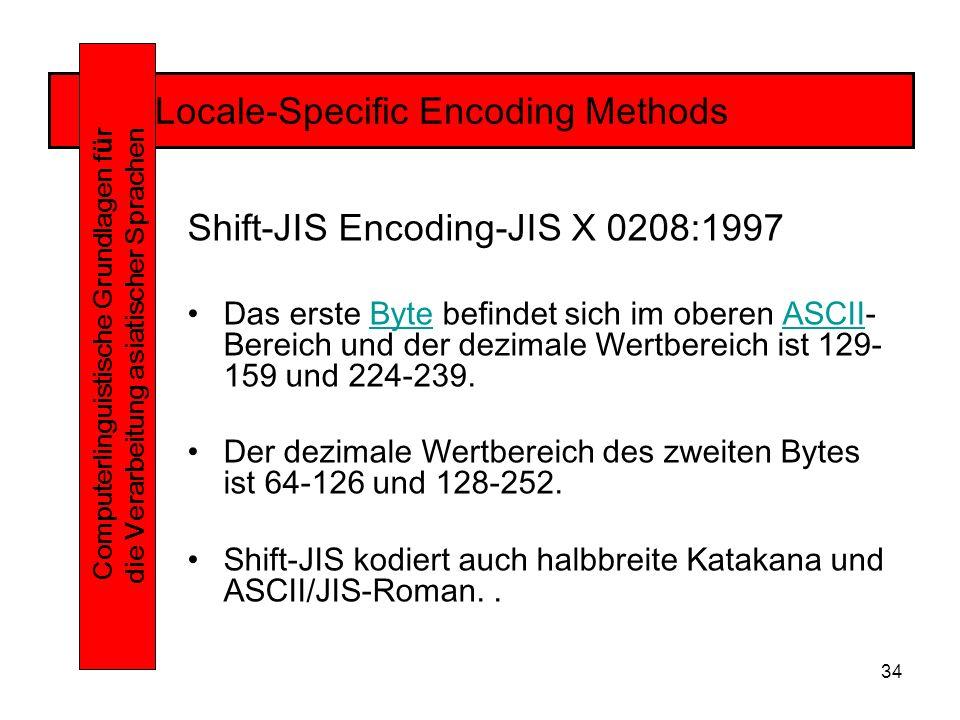 34 Locale-Specific Encoding Methods Computerlinguistische Grundlagen f ü r die Verarbeitung asiatischer Sprachen Shift-JIS Encoding-JIS X 0208:1997 Das erste Byte befindet sich im oberen ASCII- Bereich und der dezimale Wertbereich ist 129- 159 und 224-239.ByteASCII Der dezimale Wertbereich des zweiten Bytes ist 64-126 und 128-252.