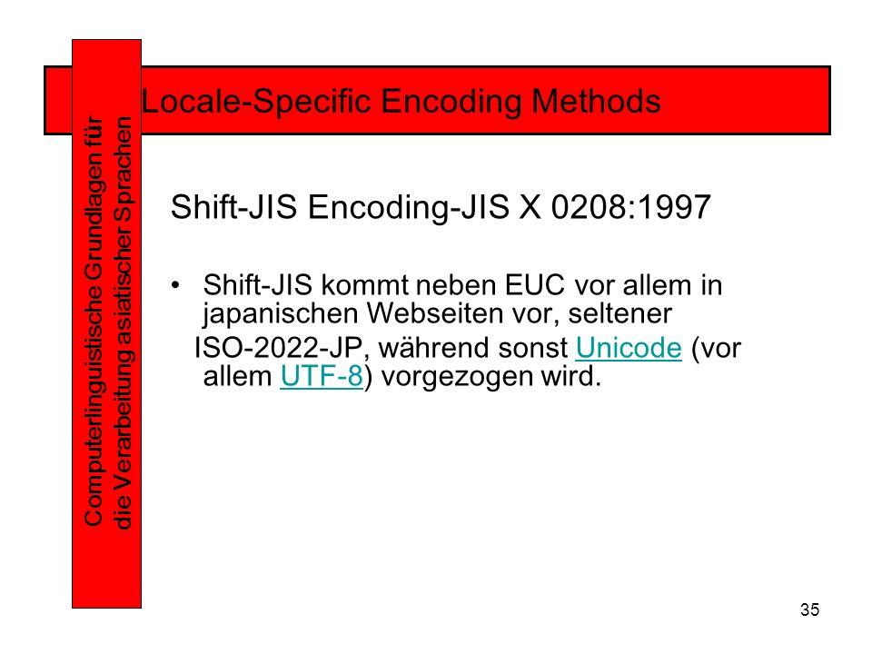 35 Locale-Specific Encoding Methods Computerlinguistische Grundlagen f ü r die Verarbeitung asiatischer Sprachen Shift-JIS Encoding-JIS X 0208:1997 Shift-JIS kommt neben EUC vor allem in japanischen Webseiten vor, seltener ISO-2022-JP, während sonst Unicode (vor allem UTF-8) vorgezogen wird.UnicodeUTF-8