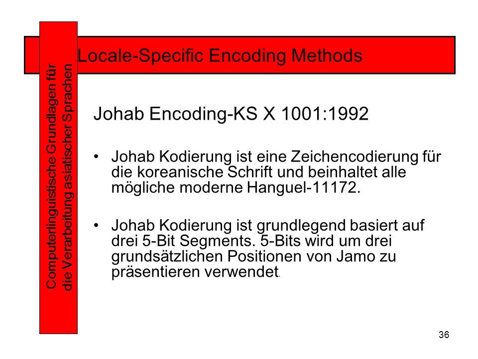 36 Locale-Specific Encoding Methods Computerlinguistische Grundlagen f ü r die Verarbeitung asiatischer Sprachen Johab Encoding-KS X 1001:1992 Johab Kodierung ist eine Zeichencodierung für die koreanische Schrift und beinhaltet alle mögliche moderne Hanguel-11172.