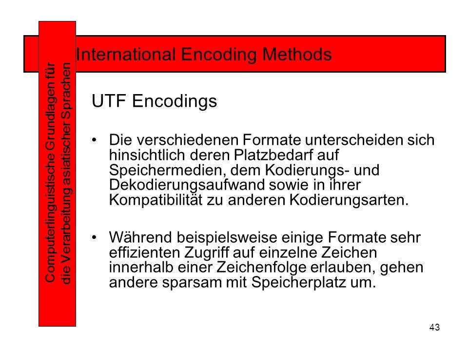 43 International Encoding Methods Computerlinguistische Grundlagen f ü r die Verarbeitung asiatischer Sprachen UTF Encodings Die verschiedenen Formate unterscheiden sich hinsichtlich deren Platzbedarf auf Speichermedien, dem Kodierungs- und Dekodierungsaufwand sowie in ihrer Kompatibilität zu anderen Kodierungsarten.