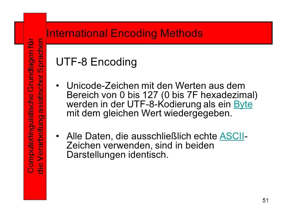 51 International Encoding Methods Computerlinguistische Grundlagen f ü r die Verarbeitung asiatischer Sprachen UTF-8 Encoding Unicode-Zeichen mit den Werten aus dem Bereich von 0 bis 127 (0 bis 7F hexadezimal) werden in der UTF-8-Kodierung als ein Byte mit dem gleichen Wert wiedergegeben.Byte Alle Daten, die ausschließlich echte ASCII- Zeichen verwenden, sind in beiden Darstellungen identisch.ASCII
