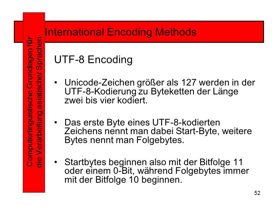 52 International Encoding Methods Computerlinguistische Grundlagen f ü r die Verarbeitung asiatischer Sprachen UTF-8 Encoding Unicode-Zeichen größer als 127 werden in der UTF-8-Kodierung zu Byteketten der Länge zwei bis vier kodiert.