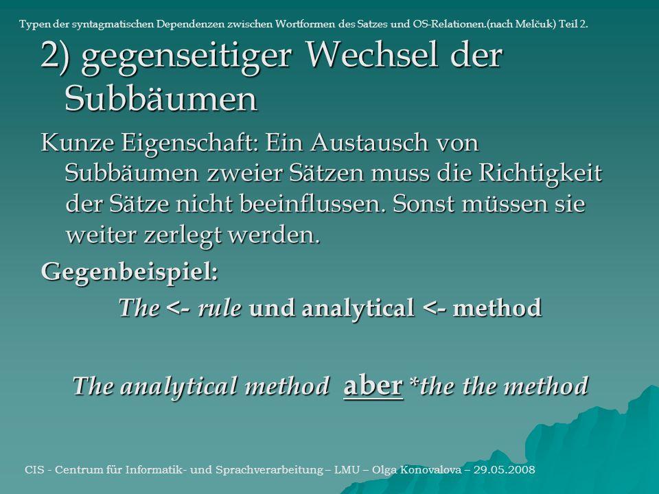 2) gegenseitiger Wechsel der Subbäumen Kunze Eigenschaft: Ein Austausch von Subbäumen zweier Sätzen muss die Richtigkeit der Sätze nicht beeinflussen.