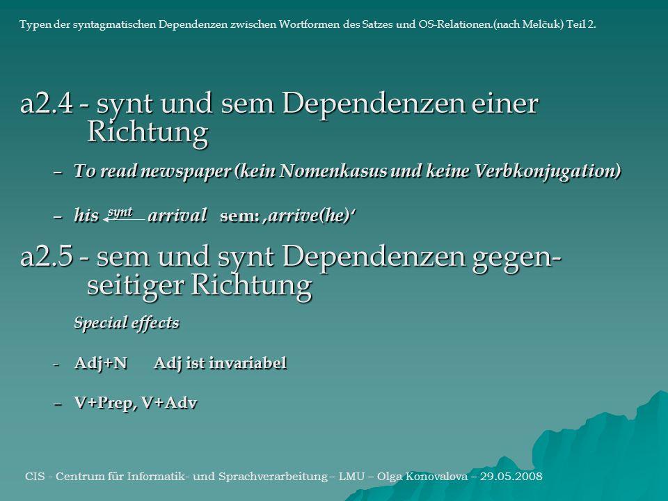 a2.4 - synt und sem Dependenzen einer Richtung – To read newspaper (kein Nomenkasus und keine Verbkonjugation) – his synt arrival sem: arrive(he) a2.5 - sem und synt Dependenzen gegen- seitiger Richtung Special effects - Adj+NAdj ist invariabel – V+Prep, V+Adv CIS - Centrum für Informatik- und Sprachverarbeitung – LMU – Olga Konovalova – 29.05.2008 Typen der syntagmatischen Dependenzen zwischen Wortformen des Satzes und OS-Relationen.(nach Melčuk) Teil 2.