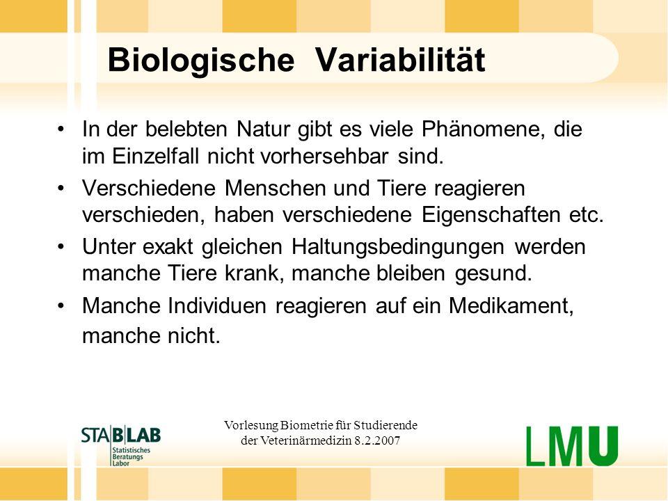 Vorlesung Biometrie für Studierende der Veterinärmedizin 8.2.2007 Biologische Variabilität In der belebten Natur gibt es viele Phänomene, die im Einze