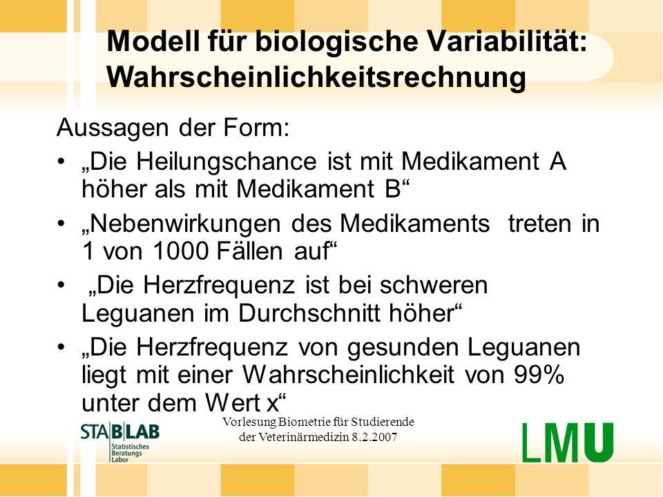 Vorlesung Biometrie für Studierende der Veterinärmedizin 8.2.2007 Modell für biologische Variabilität: Wahrscheinlichkeitsrechnung Aussagen der Form: