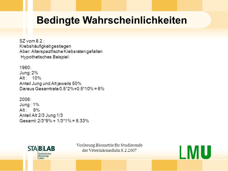 Vorlesung Biometrie für Studierende der Veterinärmedizin 8.2.2007 Bedingte Wahrscheinlichkeiten SZ vom 8.2.: Krebshäufigkeit gestiegen Aber: Alterspez