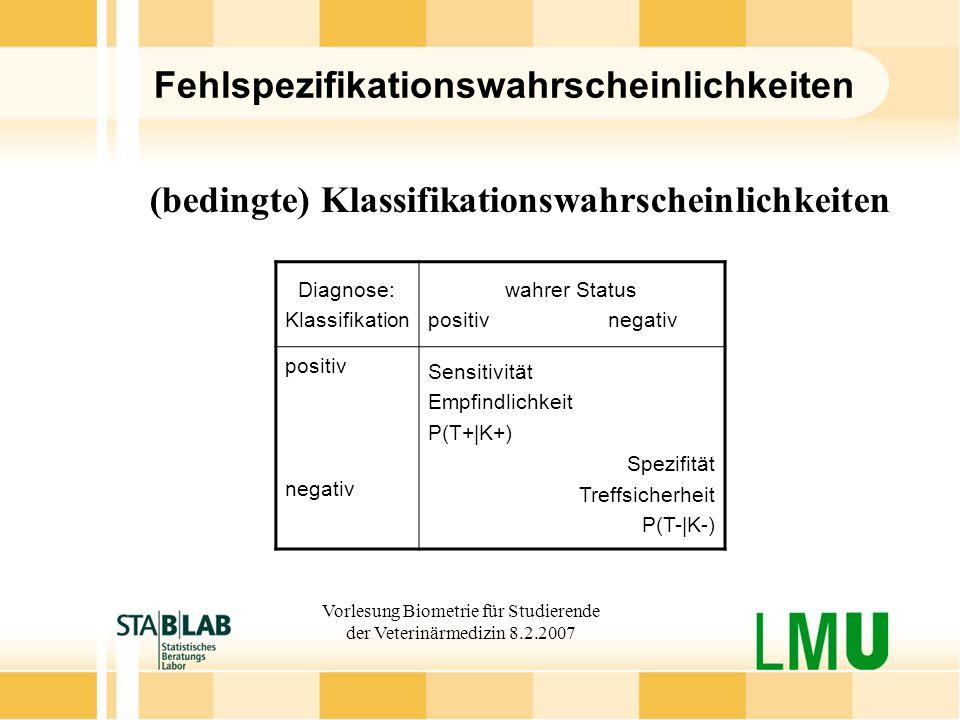 Vorlesung Biometrie für Studierende der Veterinärmedizin 8.2.2007 Fehlspezifikationswahrscheinlichkeiten (bedingte) Klassifikationswahrscheinlichkeite