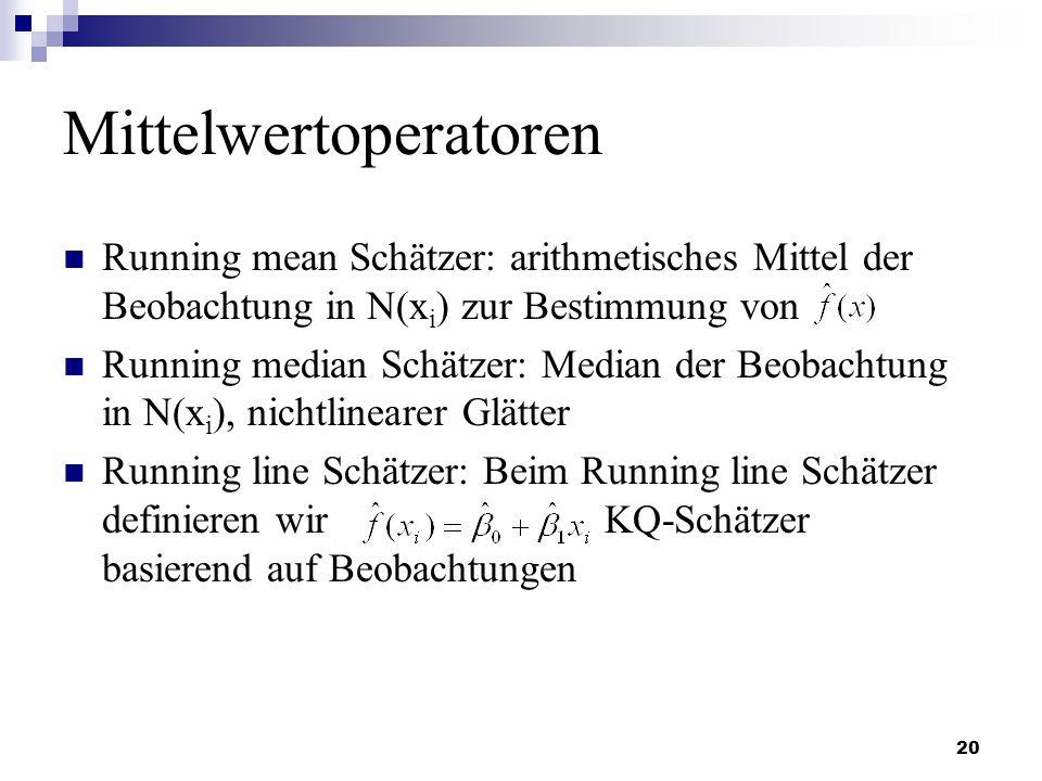 20 Mittelwertoperatoren Running mean Schätzer: arithmetisches Mittel der Beobachtung in N(x i ) zur Bestimmung von Running median Schätzer: Median der