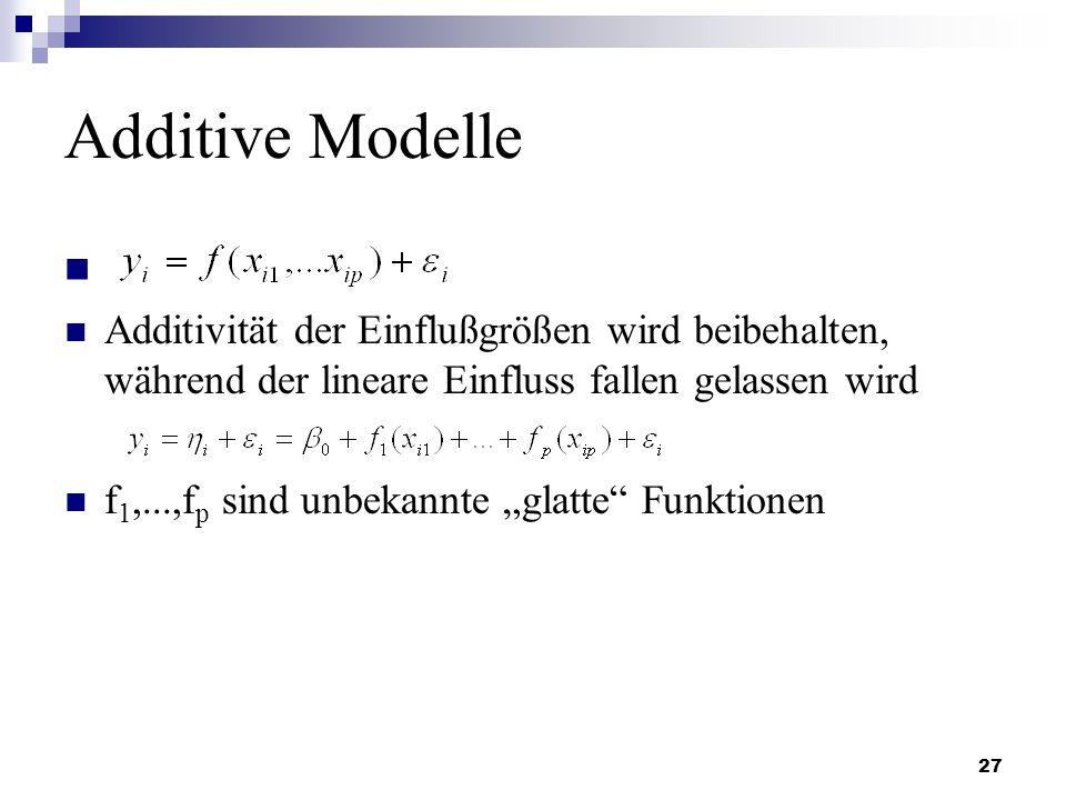 27 Additive Modelle Additivität der Einflußgrößen wird beibehalten, während der lineare Einfluss fallen gelassen wird f 1,...,f p sind unbekannte glat