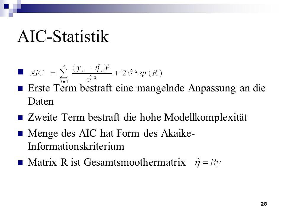 28 AIC-Statistik Erste Term bestraft eine mangelnde Anpassung an die Daten Zweite Term bestraft die hohe Modellkomplexität Menge des AIC hat Form des
