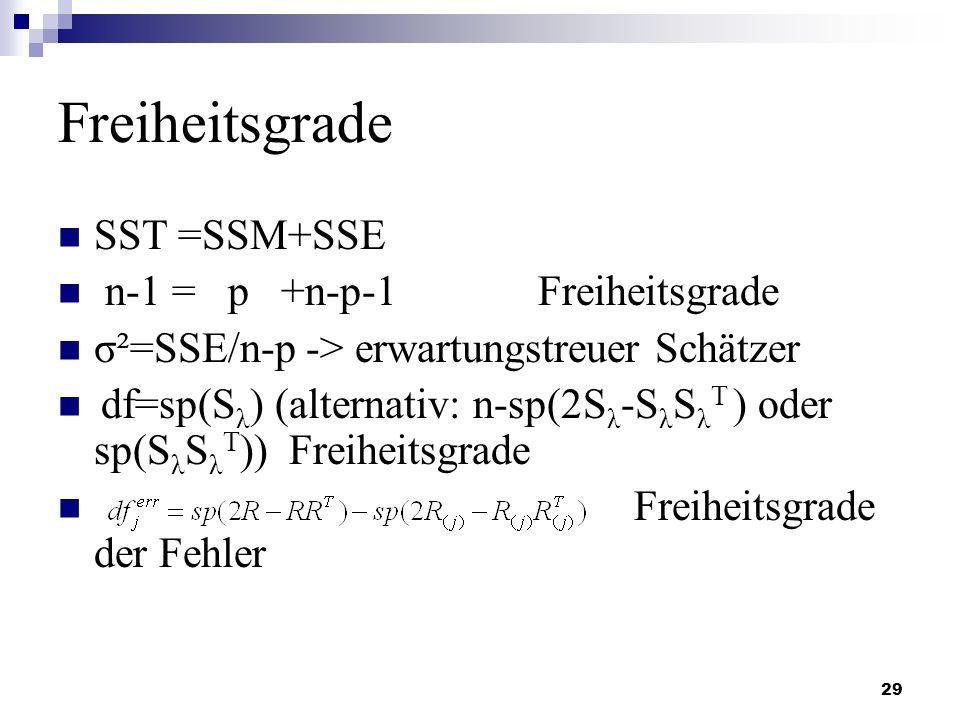 29 Freiheitsgrade SST =SSM+SSE n-1 = p +n-p-1Freiheitsgrade σ²=SSE/n-p -> erwartungstreuer Schätzer df=sp(S λ ) (alternativ: n-sp(2S λ -S λ S λ T ) od