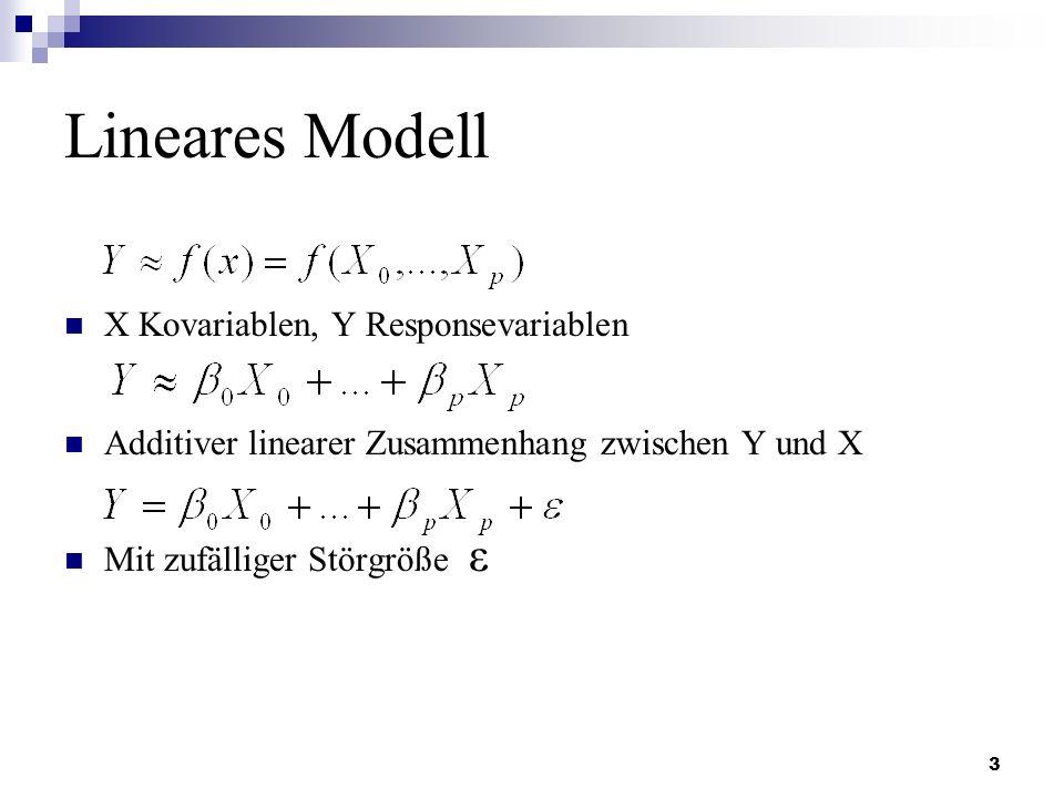 3 Lineares Modell X Kovariablen, Y Responsevariablen Additiver linearer Zusammenhang zwischen Y und X Mit zufälliger Störgröße ε
